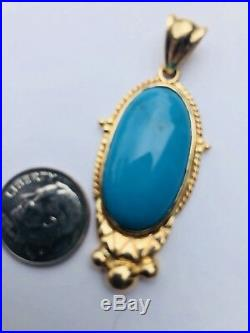14k Gold Sleeping Beauty Turquoise Pendant 8.5 grams