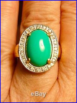 14k Levian Sleeping Beauty Turquoise And Diamond Ring. Gorgeous