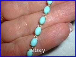 14k Natural Sleeping Beauty Blue Turquoise Tennis Bracelet 10 Ctw 7 Inches