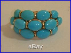 14k Rose Gold & Sleeping Beauty Turquoise 3 Row Band Ring New Size 6 Qvc