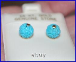 14k Sleeping Beauty Lotus Flower 8mm Stud Earrings Fancy Backs