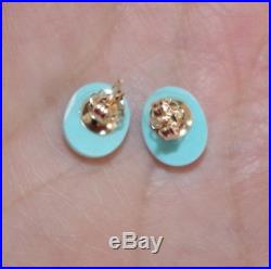 14k Sleeping Beauty Turkish Turquoise Quality Oval Studs Earrings Aaa