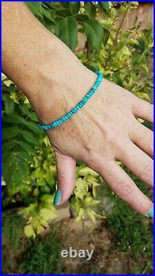 14k Solid Gold 4mm SLEEPING BEAUTY TURQUOISE blue Natural Bracelet Men All SIZES
