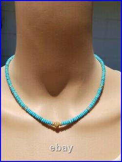 14k Solid Yellow Gold DIAMOND SLEEPING BEAUTY Sydney Evan Turquoise Necklace
