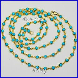 14k Solid Yellow Gold Opera Necklace With Sleeping Beauty Turquoise Round Bezel
