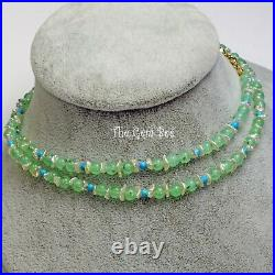 14k Solid gold Chrysoprase Keishi Pearl Sleeping Beauty Turquoise 25.5 Necklace