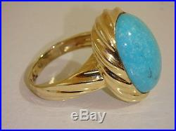14k Yellow Gold Bold Sleeping Beauty Turquoise Ring New Size 5