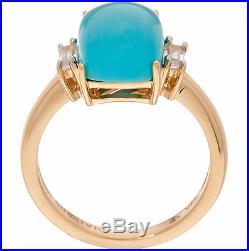 14k Yellow Gold Elongated Cushion Cut Sleeping Beauty Turquoise Ring Size 9 Qvc
