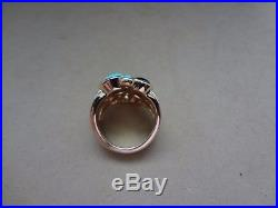 14k Yellow Gold Free Form Sleeping Beauty Turquoise & Blue Topaz Cabochon Ring