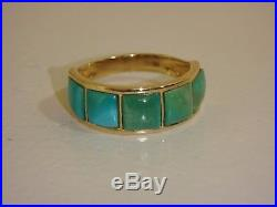14k Yellow Gold Sleeping Beauty Inlay Design Band Ring New Size 5