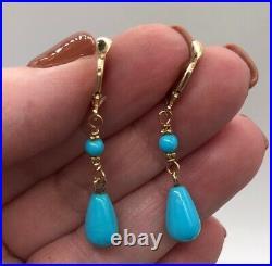 14k Yellow Gold Sleeping Beauty TURQUOISE Dangle Earrings