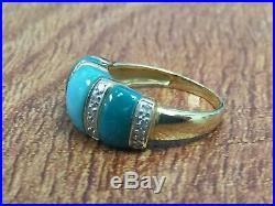 14k Yellow Gold Sleeping Beauty Turquoise & 1/10ct Diamond Ring Size 6 Qvc $419