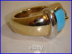 14k Yellow Gold Sleeping Beauty Turquoise Buckle Ring Silicone Qvc 6