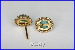 14k Yellow Gold Sleeping Beauty Turquoise Cabochon Pierced Solitaire Earrings
