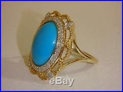 14k Yellow Gold Sleeping Beauty Turquoise & Diamond Filigree Ring New 5