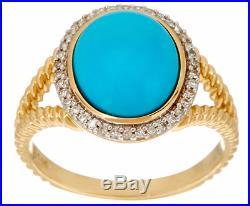 14k Yellow Gold Sleeping Beauty Turquoise & Diamond Rope Design Ring Size 7 Qvc