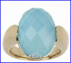 14k Yellow Gold Sleeping Beauty Turquoise Doublet Band Ring Size 6 Qvc $368.00