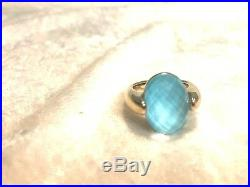 14k Yellow Gold Sleeping Beauty Turquoise Doublet Ring Size 8 (m1069-78)