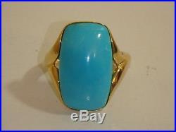 14k Yellow Gold Sleeping Beauty Turquoise Elongated Cushion Ring New Qvc 6