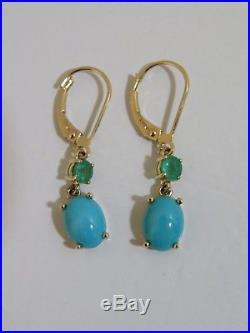 14k Yellow Gold Sleeping Beauty Turquoise & Emerald Drop Earrings New Qvc