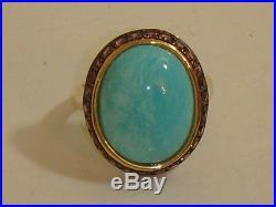 14k Yellow Gold Sleeping Beauty Turquoise & Garnet Ring New Size 5 Qvc