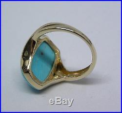14k Yellow Gold Sleeping Beauty Turquoise Ring Elongated Cushion Size 8 QVC