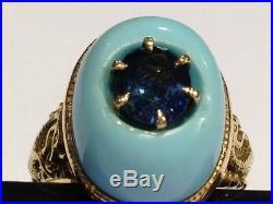 14k Yellow Gold Sleeping Beauty Turquoise Sapphire Dragon Ring, Sz 7.5