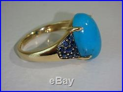 14k Yellow Gold Sleeping Beauty Turquoise & Sapphire Ring New Size 7