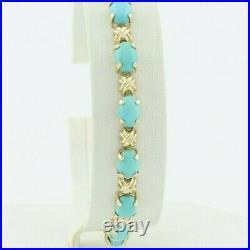 14k Yellow Gold Sleeping Beauty Turquoise Tennis Bracelet 7 1/4 inch