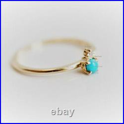 14k Yellow Gold Sleeping Beauty Turquoise With 1 Dimond Petite Ring Gift Jewelry