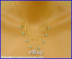 14k Yellow Gold Sparkle Bead Sleeping Beauty Blue Turquoise Drop Bib Necklace