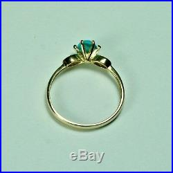 14k solid yellow gold 5mm cabochon natural Sleeping beauty Turquoise ring size 8