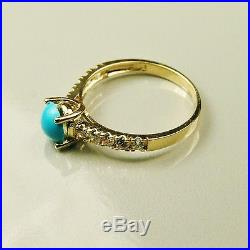 14k solid yellow gold natural Sleeping Beauty Turquoise wedding ring size 7