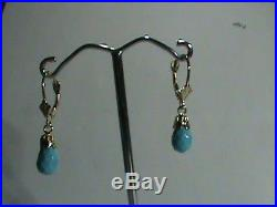 14kt Gold Leverback Earrings Natural Faceted Sleeping Beauty Turquoise Drops