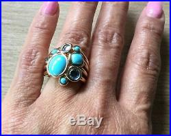 14kt YG Sleeping Beauty and Blue Topaz Ring- BIG and BOLD