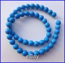 15,5 Arizona Sleeping Beauty Blue Turquoise 8 mm 50 Round Beads Vintage