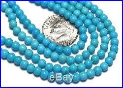 15.5 Strand SLEEPING BEAUTY TURQUOISE 4mm Round Beads AA-AAA NATURAL COLOR /R46