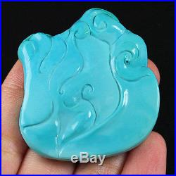 159.7CT 100% Natural Sleeping Beauty Turquoise Carving Dragon CST24
