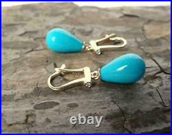 16 mm Sleeping Beauty Turquoise & Diamond 10K Yellow Gold Over Teardrop Earrings
