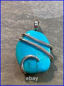 17.65ct Blue Turquoise Sleeping Beauty In Forge Wrapped Sterling Silver Pendant