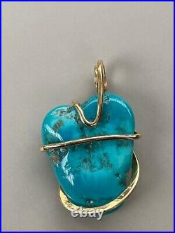17.87ct Turquoise Blue Sleeping Beauty In Forged 14K Yellow Gold Pendant Ttl Wt