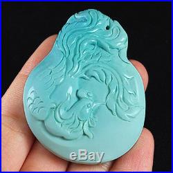 180.8CT 100% Natural Sleeping Beauty Turquoise Carving Phoenix CST26