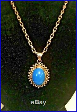 18K 750 Yellow Gold Pendant Sleeping Beauty Turquoise 1-1/4 L New