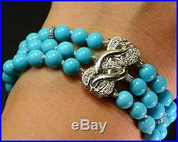 18K Solid White Gold Diamond Finest Sleeping Beauty Turquoise Bracelet 6.5 INCH