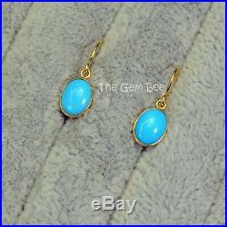 18K Solid Yellow Gold Old Stock Sleeping Beauty Turquoise Earrings