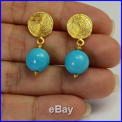 18K Solid Yellow Gold Sleeping Beauty Turquoise Earrings
