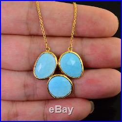 18K Solid Yellow gold Sleeping Beauty Turquoise Slice Bezel 17 necklace