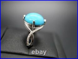 18K White Gold Turquoise Diamond Ring Cabochon Sleeping Beauty US Size 6 3/4