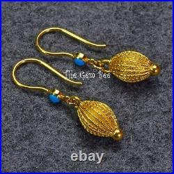 18K Yellow Gold Old Stock Sleeping Beauty Turquoise Handmade Lantern Earrings