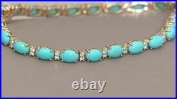 18K Yellow Gold Over Sleeping Beauty Turquoise & Diamond Tennis 7.25 Bracelet